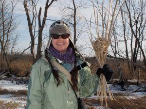 Amanda holding a Marsh Wren nest