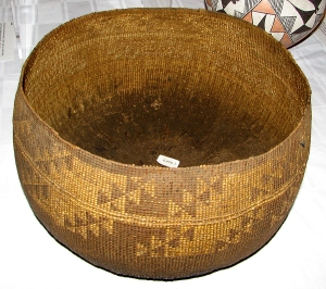 "Hupa cooking basket, ca. 10"" tall - food was boiled in the basket using hot stones from the fire"