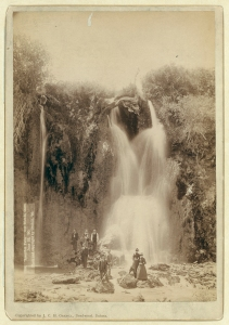 """""""Spearfish Falls."""" Our friends, there, June 22, 1890 Grabill, John C. H., photographer"""
