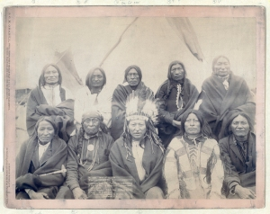 Indian chiefs who counciled with Gen. Miles and setteled [sic] the Indian War -- 1. Standing Bull, 2. Bear Who Looks Back Running [Stands and Looks Back], 3. Has the Big White Horse, 4. White Tail, 5. Liver [Living] Bear, 6. Little Thunder, 7. Bull Dog, 8. High Hawk, 9. Lame, 10. Eagle Pipe Grabill, John C. H., photographer