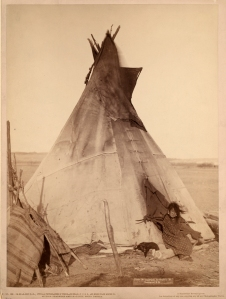A young Oglala girl sitting in front of a tipi, with a puppy beside her, probably on or near Pine Ridge Reservation Grabill, John C. H., photographer