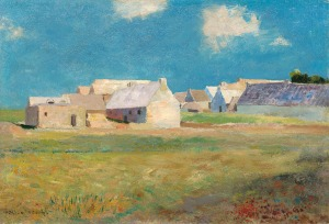 Odilon Redon French, 1840 - 1916 Breton Village, c. 1890 oil on canvas