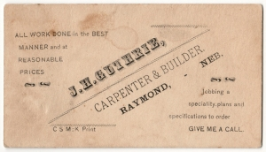 J.H. Guthrie business card