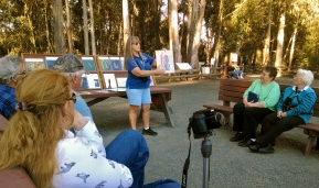 Jan telling us about Monarchs - one of the many great docents at the grove