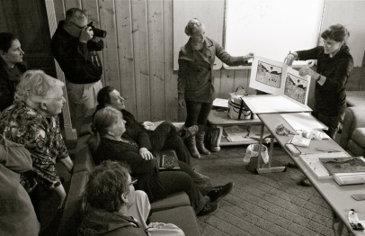 woodblock printing demo at Ewing-Snell Ranch
