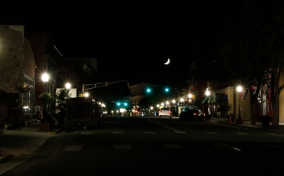 waxing crescent moon over Main Street, Trinidad